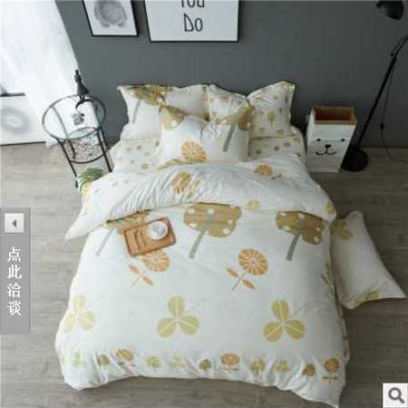 床上用品被枕套 最新款全棉四件套大床笠款100%纯棉小清新床品