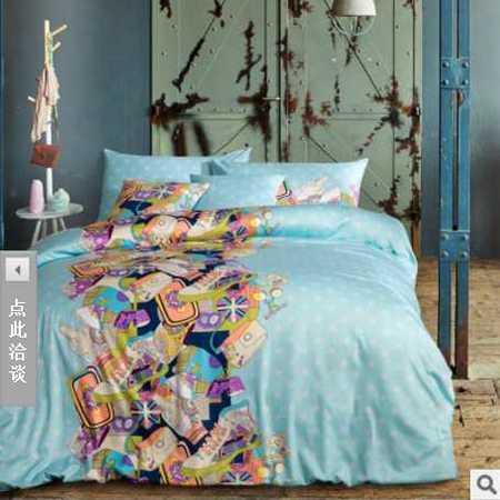 床上用品被枕套 新款春款美式纯棉全棉40S柔丝缎贡缎四件套