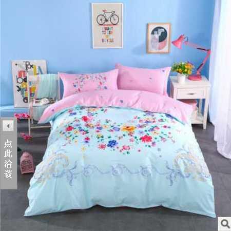 床上用品被枕套 新款全棉活性印花小号床单款三件套