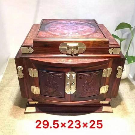 老挝红酸枝实木拱门龙凤呈祥镜箱珠宝首饰百宝箱红木雕梳妆箱