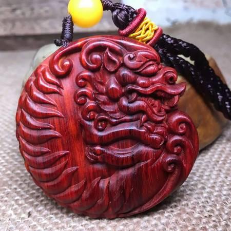 正宗印度小叶紫檀老料双面精工雕刻古体 貔貅神兽 手把件