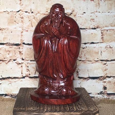 印度高油密老料小叶紫檀手工精雕圣人孔子人物摆件木雕工艺品