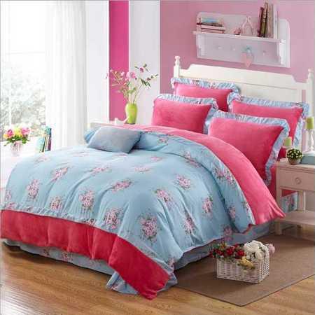 最新款韩版加厚保暖法兰绒四件套法莱绒床单被套床品