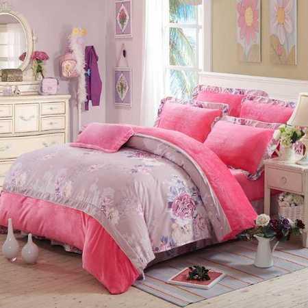 韩版加厚法兰绒四件套保暖法莱绒床单被套床上用品