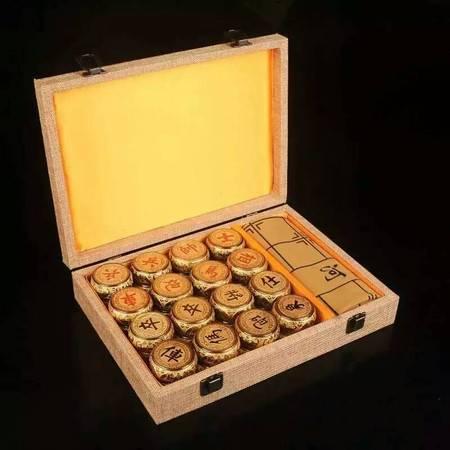 工艺金丝楠木5.0象棋 中国象棋 小叶桢楠镀金五福象棋配精美礼盒