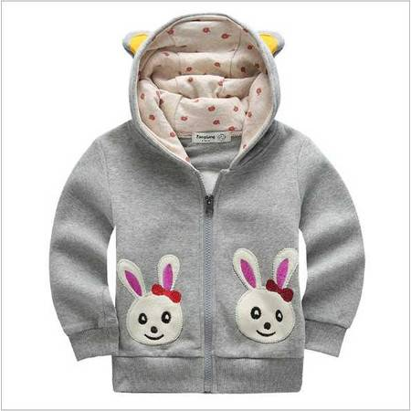 童装 春装女童卫衣加绒衫外套卡通兔拉链上衣宝宝