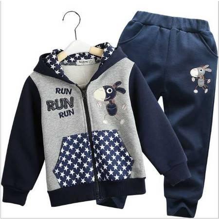 春季男童运动休闲两件套 春款童装中小童字母套装