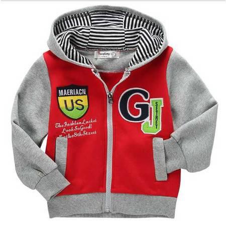 童装 新款字母印花休闲针织拉链儿童卫衣 童卫衣