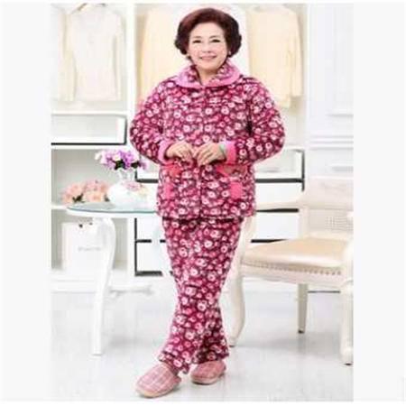 三层加厚加绒睡衣冬季新款中老年女士保暖夹棉袄家居服