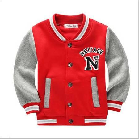 童卫衣 童装春款新款学院风棒球服韩版潮开衫纯棉外套