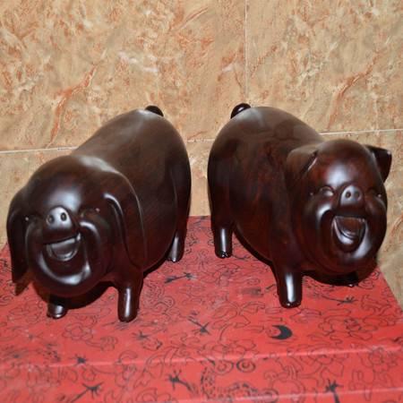 黑檀木/非洲花木招财猪幸福对猪情侣猪发财小猪动物生肖礼品 长22cm 风水摆件一对价