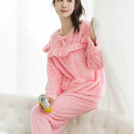冬季北极绒纯色波浪蝴蝶结加厚女士睡衣家居服套装