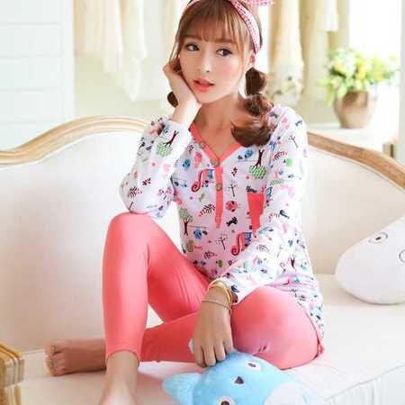 秋季新款莫代尔睡衣女士可爱卡通家居服纯棉质套装女秋睡衣