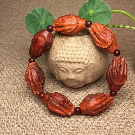 正宗印度小叶紫檀高油密老料特色木雕佛手手串佛珠念珠男女款