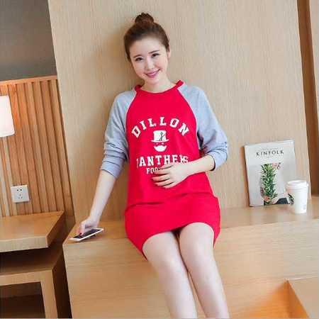孕妇装秋装潮妈打底卫衣新款拼接韩版时尚中长款孕妇长袖卫衣