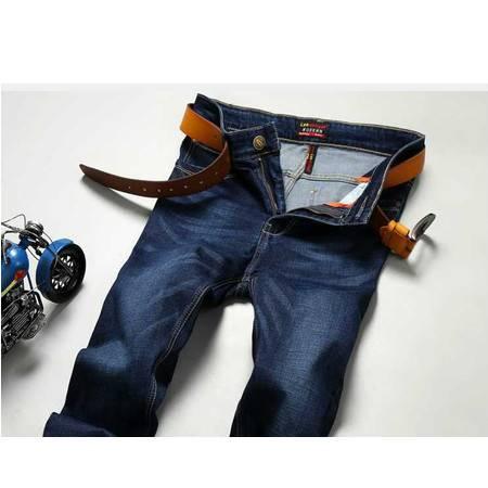 正品牛仔男装秋季深蓝牛仔长裤直筒弹力青年男士裤子潮