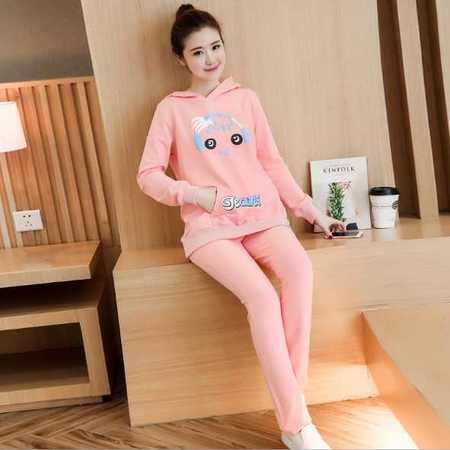 孕妇装套装春秋装韩版新款时尚休闲运动两件套宽松大码孕妇卫衣潮