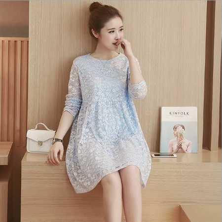 孕妇装秋装连衣裙秋季新款韩版时尚a字中长款蕾丝孕妇连衣裙