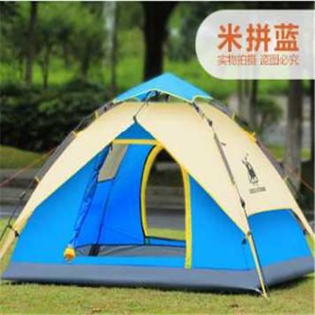 新款3-4人户外野营自动帐篷双层防雨露营帐篷