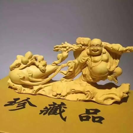 工艺新品小叶黄杨木精雕布袋弥勒佛家居摆件车摆件