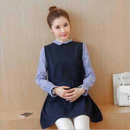 孕妇装 春秋新款韩版纯棉假两件套圆领长袖孕妇连衣裙