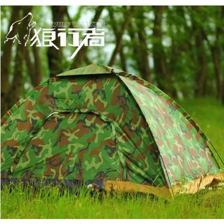 四人单层军绿迷彩帐篷 单兵迷彩野营帐 情侣沙滩露营帐