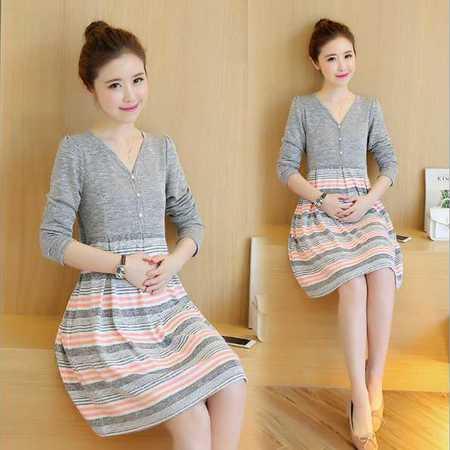 孕妇装 秋季新款韩版纯棉中长款针织毛线哺乳连衣裙