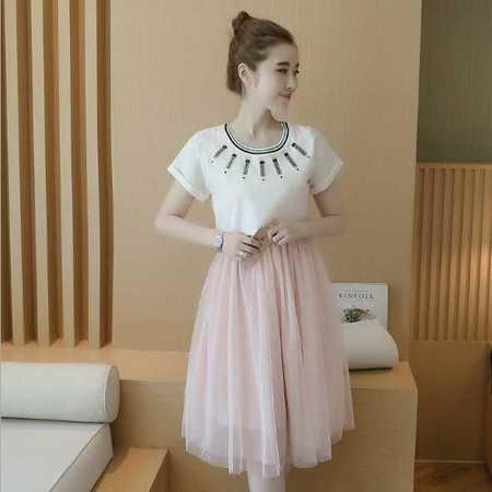 孕妇装夏季新款时尚铅笔绣花月子外出哺乳连衣裙两件套孕妇裙