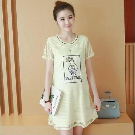 夏季新款孕妇裙 韩版香水瓶贴布圆领短袖孕妇连衣裙