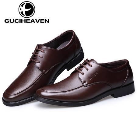 男鞋新款男士商务正装皮鞋秋季单鞋黑色系带爸爸鞋