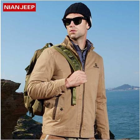 品牌男装男式夹克水洗纯棉中长款外套加大码夹克