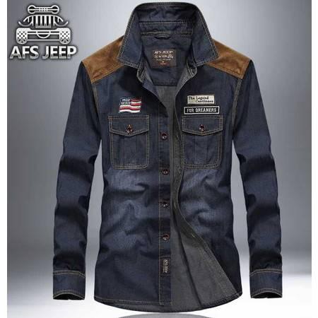 秋季新品纯色牛仔衬衫男长袖修身版韩版衬衣纯棉寸衫潮流