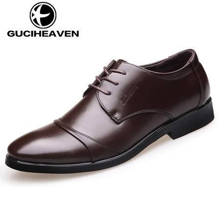 春秋季男鞋休闲鞋男士商务休闲皮鞋真皮英伦透气潮流青年正装皮鞋