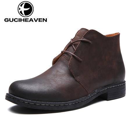 男鞋冬季马丁靴真皮男士工装靴英伦疯马皮棉靴子加绒皮靴