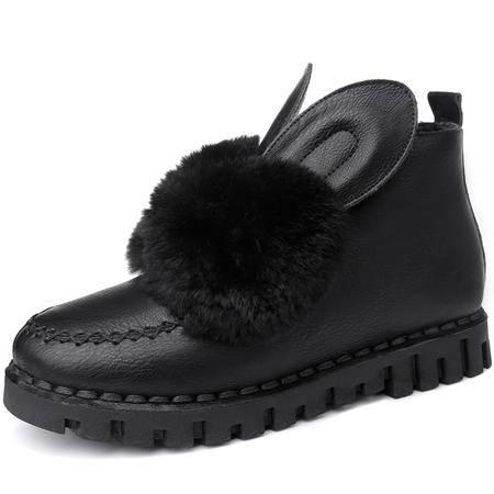 平底短靴秋冬季新款兔耳朵女鞋英伦风马丁靴潮女靴子