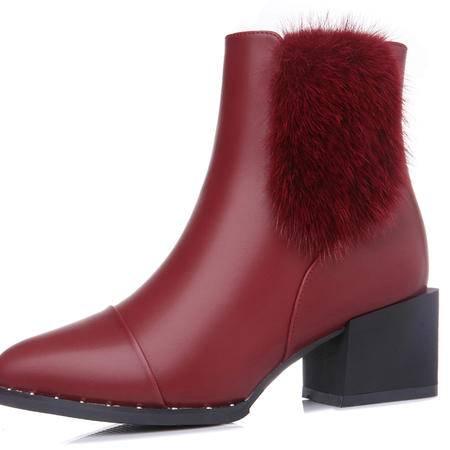 英伦风马丁靴粗跟短靴秋冬季新款高跟女鞋女靴子冬鞋