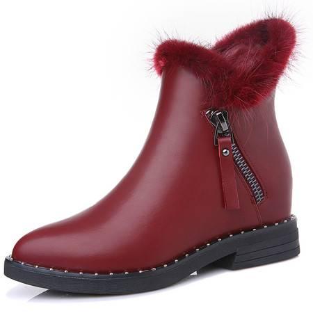 内增高拉链女靴子马丁靴秋冬季新款女短靴女鞋子