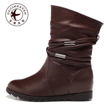 复古休闲女靴子内增高中筒靴澳洲小羊毛雪地靴
