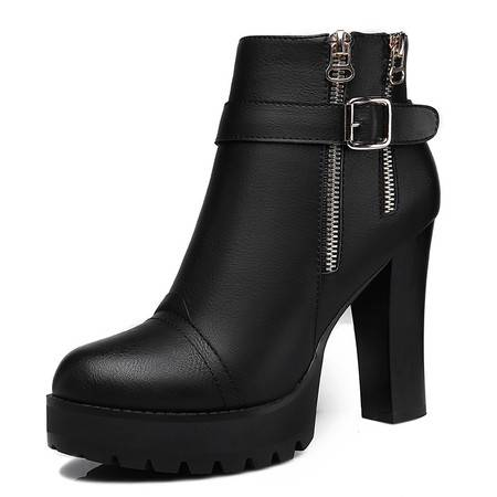秋冬休闲英伦马丁靴女皮鞋厚底防水台粗跟短靴女高跟