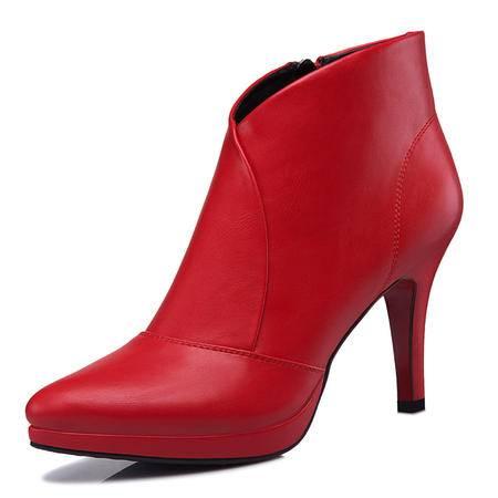 圆头高跟女靴 酒杯跟侧拉链短靴 防水台女鞋子
