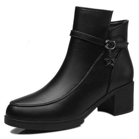 女鞋秋季圆头粗跟防水台短靴时尚金属搭扣侧拉链马丁靴女