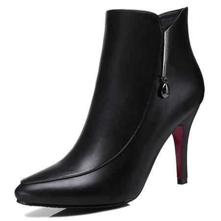 圆头酒杯跟女靴 侧拉链纯色短靴 高跟防水台女鞋子