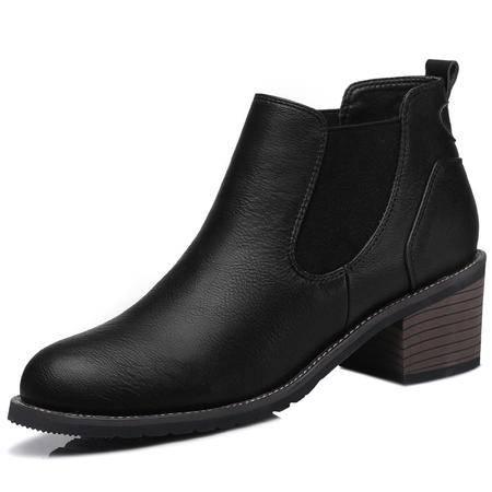 新款高跟马丁靴中跟粗跟圆头短靴英伦学院套脚裸靴女靴子