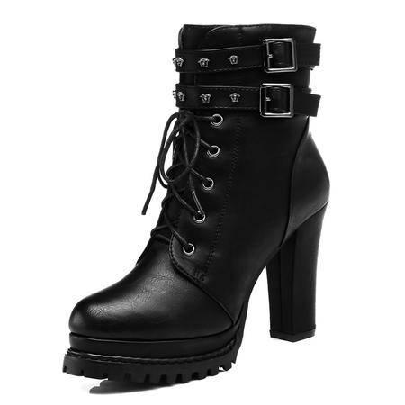 粗跟马丁靴潮女短靴秋冬季新款英伦风高跟女靴子冬天女鞋