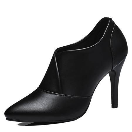 尖头深口低帮鞋 细跟高跟纯色女鞋 套脚休闲女鞋子
