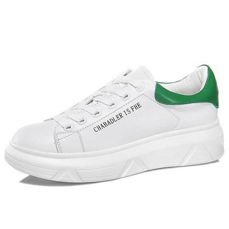 头层牛皮圆头低帮鞋 厚底系带小白鞋 防水台女鞋子