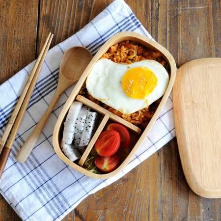 工艺天然橡木质餐具饭盒环保便当盒 单层外贸饭盒餐椭圆厨房用品