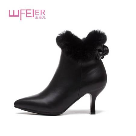 冬季加绒尖头细跟短靴兔毛女靴靴子