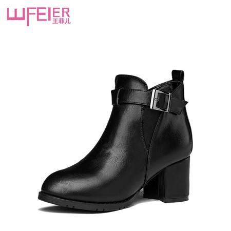 尖头低跟短靴欧美风百搭女靴冬季靴子