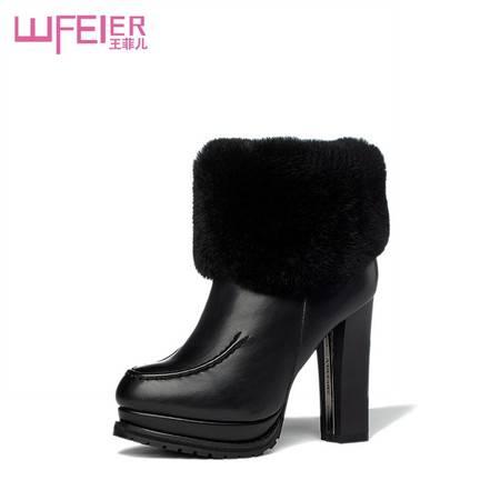 冬季加厚加毛粗跟短靴侧拉链牛筋底真毛女靴防水台靴子